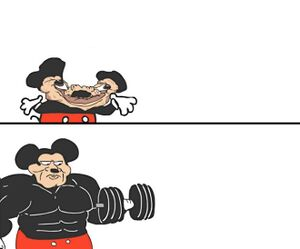 Buff Mickey Mouse: blank meme template