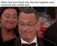Tom Hanks' Golden Globe Grimace meme #4
