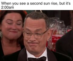 Tom Hanks' Golden Globe Grimace meme #3