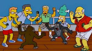 Simpsons Monkey Knife Fight: blank meme template