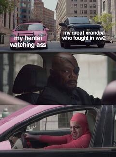 Nick Fury Looks at Pink Guy meme #3