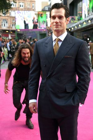 Jason Momoa Sneaks Up on Henry Cavill: blank meme template