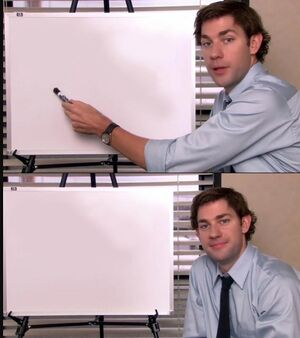 Jim Halpert Pointing to Whiteboard: blank meme template