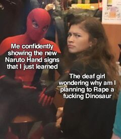 Spider-Man Explaining to Zendaya meme #2