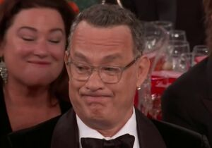 Tom Hanks' Golden Globe Grimace: blank meme template