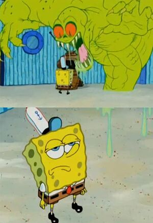 Spongebob Not Scared of The Flying Dutchman: blank meme template