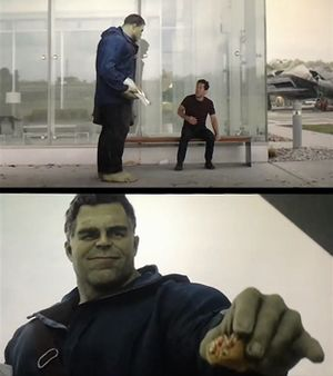 Hulk Gives Ant-Man a Taco: blank meme template