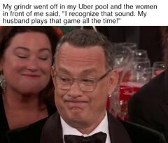 Tom Hanks' Golden Globe Grimace meme #2