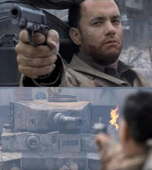 Tom Hanks vs Tank: blank meme template