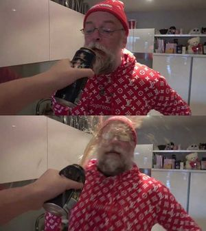 Spraying Beer in Papanomaly's Face: blank meme template